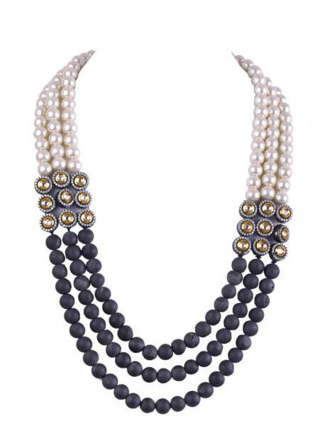 Mirah Necklace With Matte Grey Pearls & Polki - bAnuDesigns