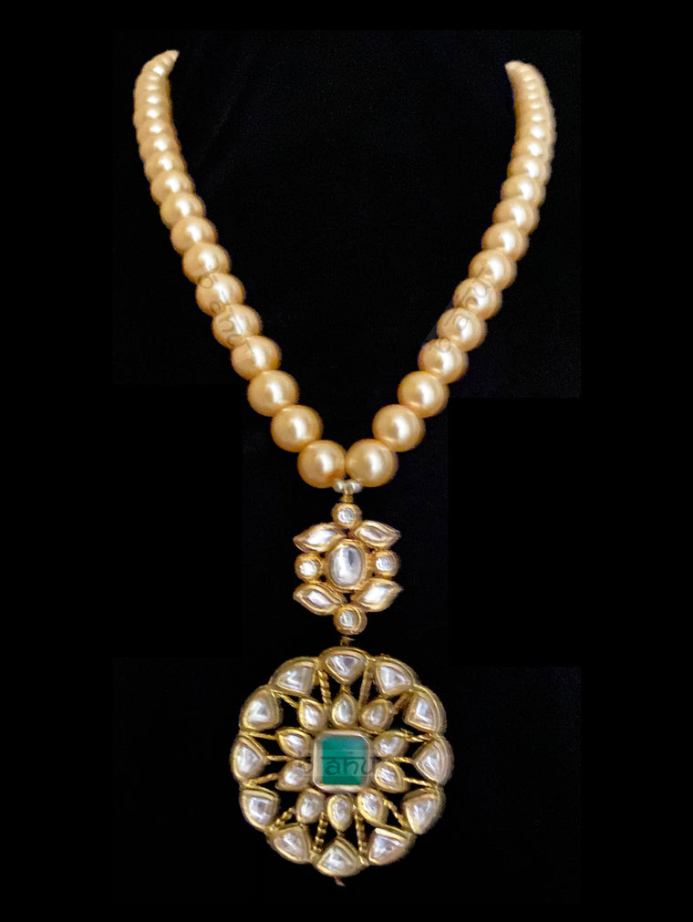Noa Multi Strand Pearls & Kundan Necklace