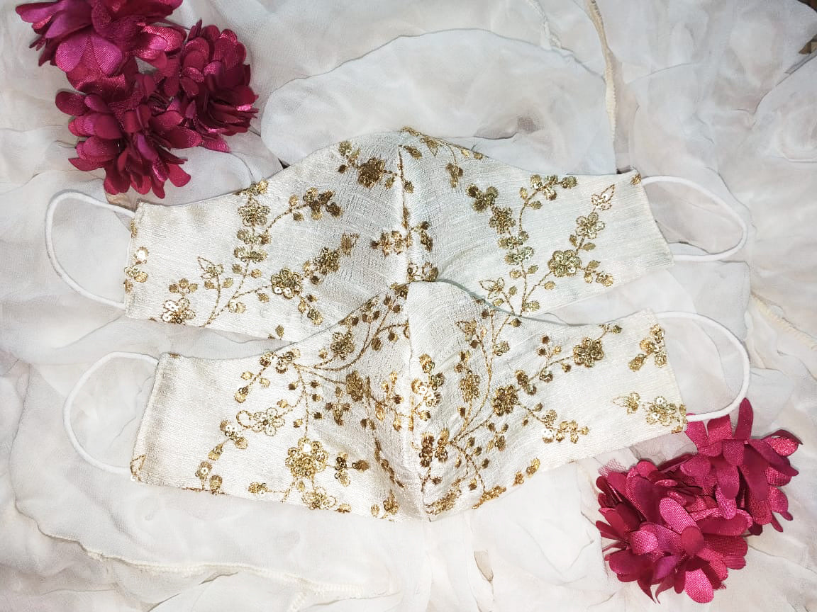 Bridal Silk Embroidery Face Mask - Off White (Cream) - bAnuDesigns