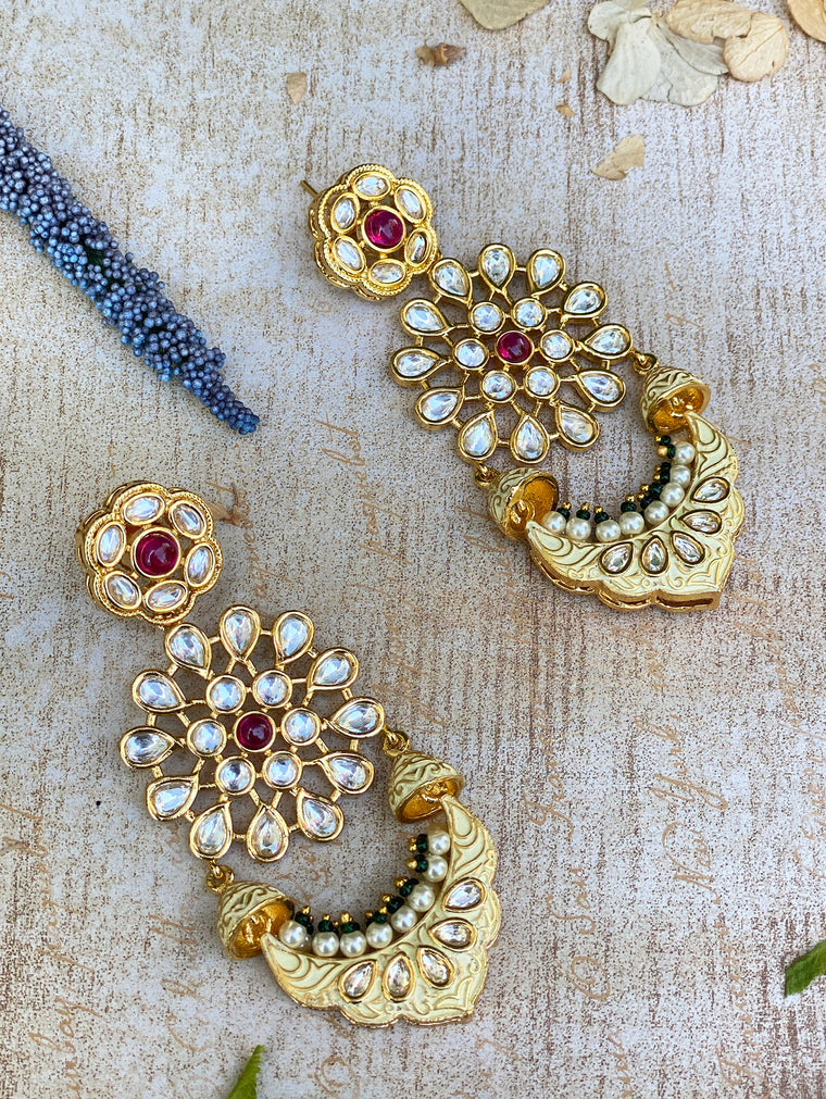 Raaina Earrings - Cream Meenakari