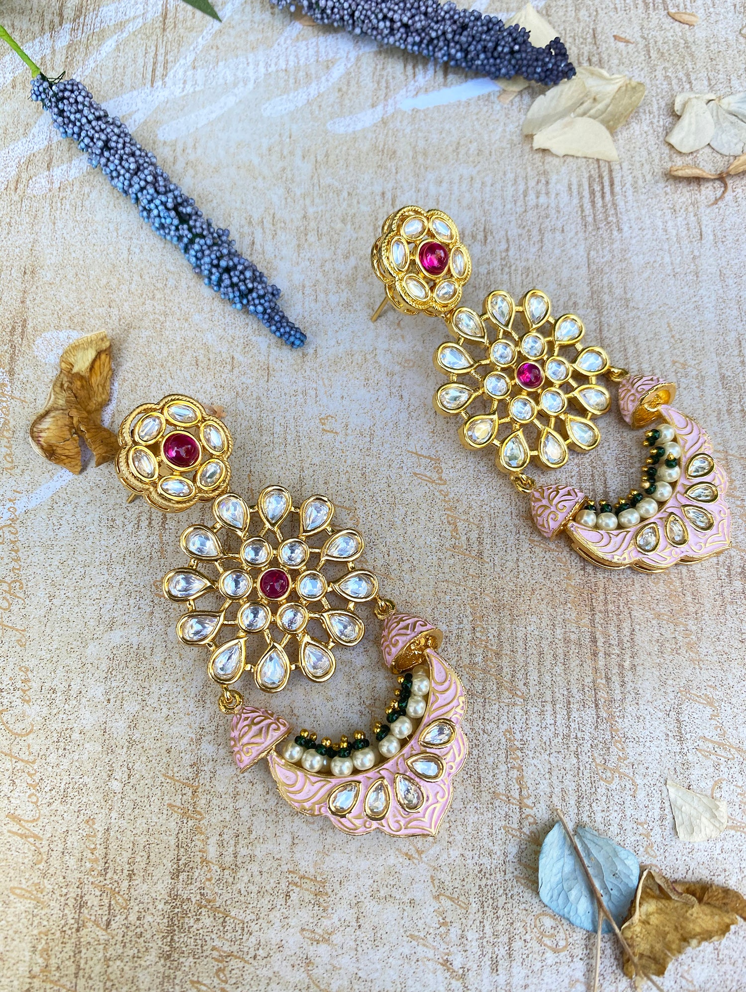 Raaina Earrings - Pink Meenakari - bAnuDesigns