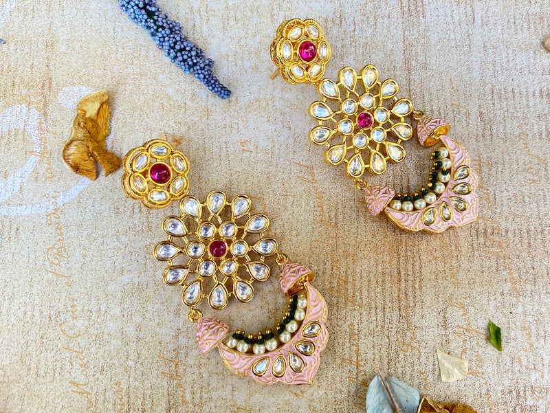 Raaina Earrings - Pink Meenakari