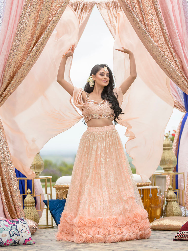 Rose Petals Silk Bridal Lehnga