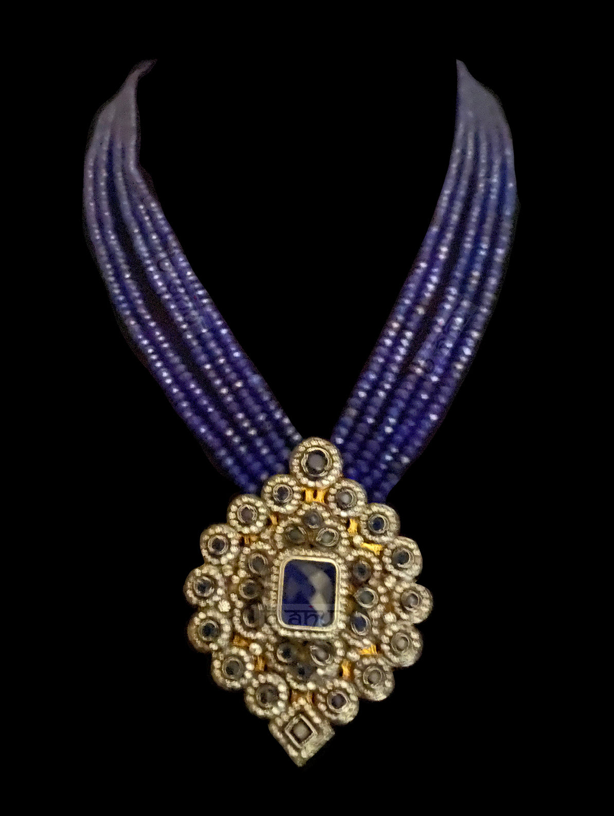 Rumina Multi Strand Necklace With Matte Blue Onyx & CZ Pendant