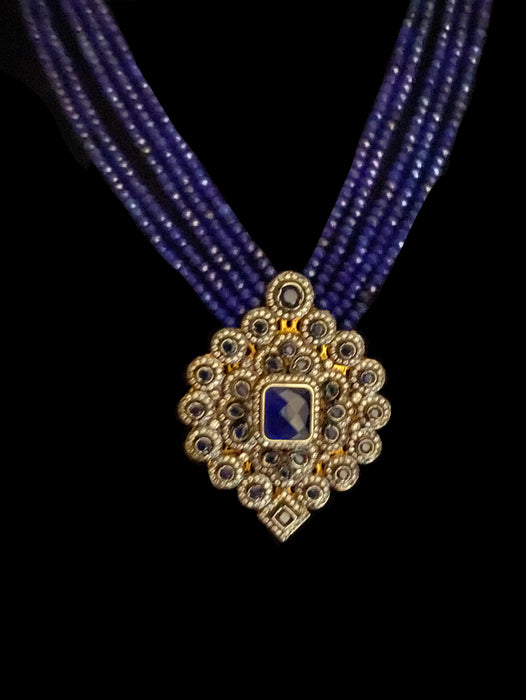Rumina Multi Strand Necklace With Matte Blue Onyx & CZ Pendant - bAnuDesigns