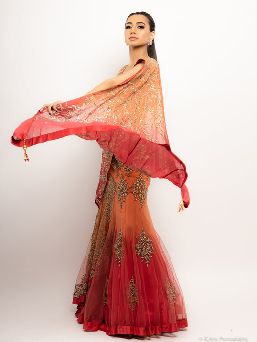 Embroidered Anarkali Gown w/Dupatta - Saba - bAnuDesigns