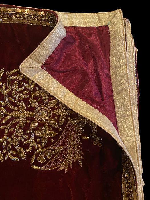 Maroon Velvet Shawl - Fully Heavy Embroidered - bAnuDesigns