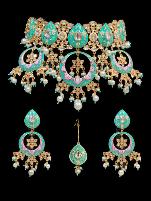 Shiddat Meenakari Set - Green - bAnuDesigns