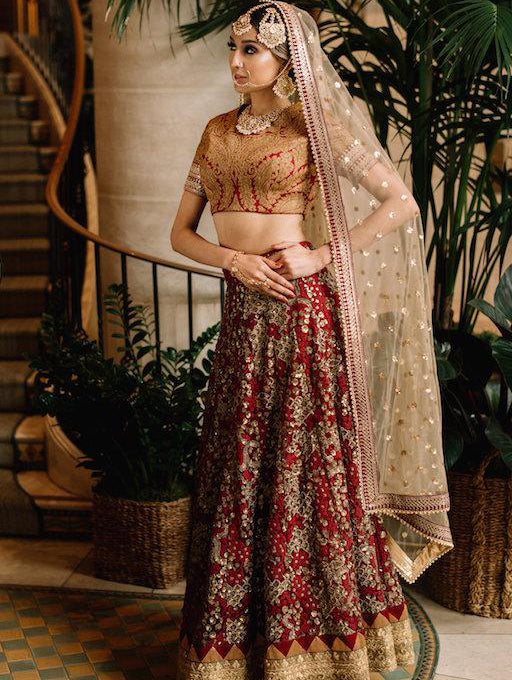Anya Maroon Brocade Wedding Lehenga - bAnuDesigns