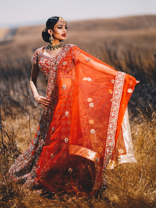 Athena Red Bridal Lehenga - Indian Bridal Wear - bAnuDesigns