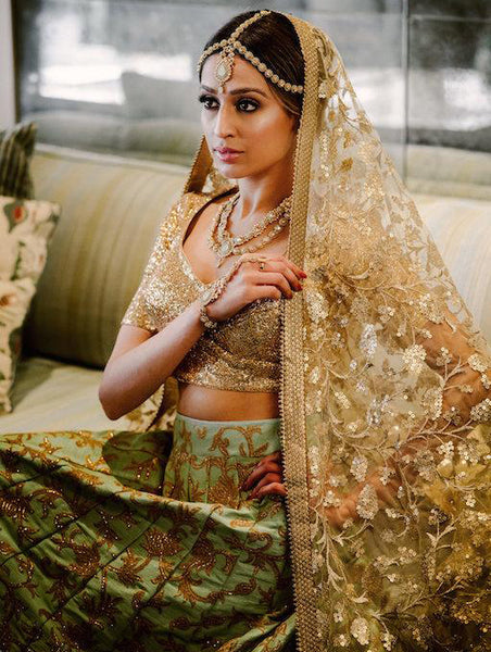 Mint Indian bridal dress