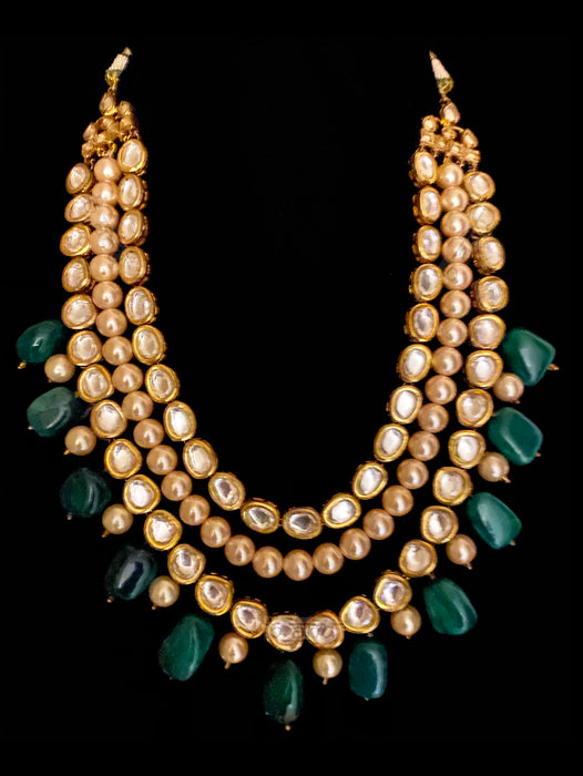 Trinity Multi-layered Necklace With Emeralds & Kundan - bAnuDesigns