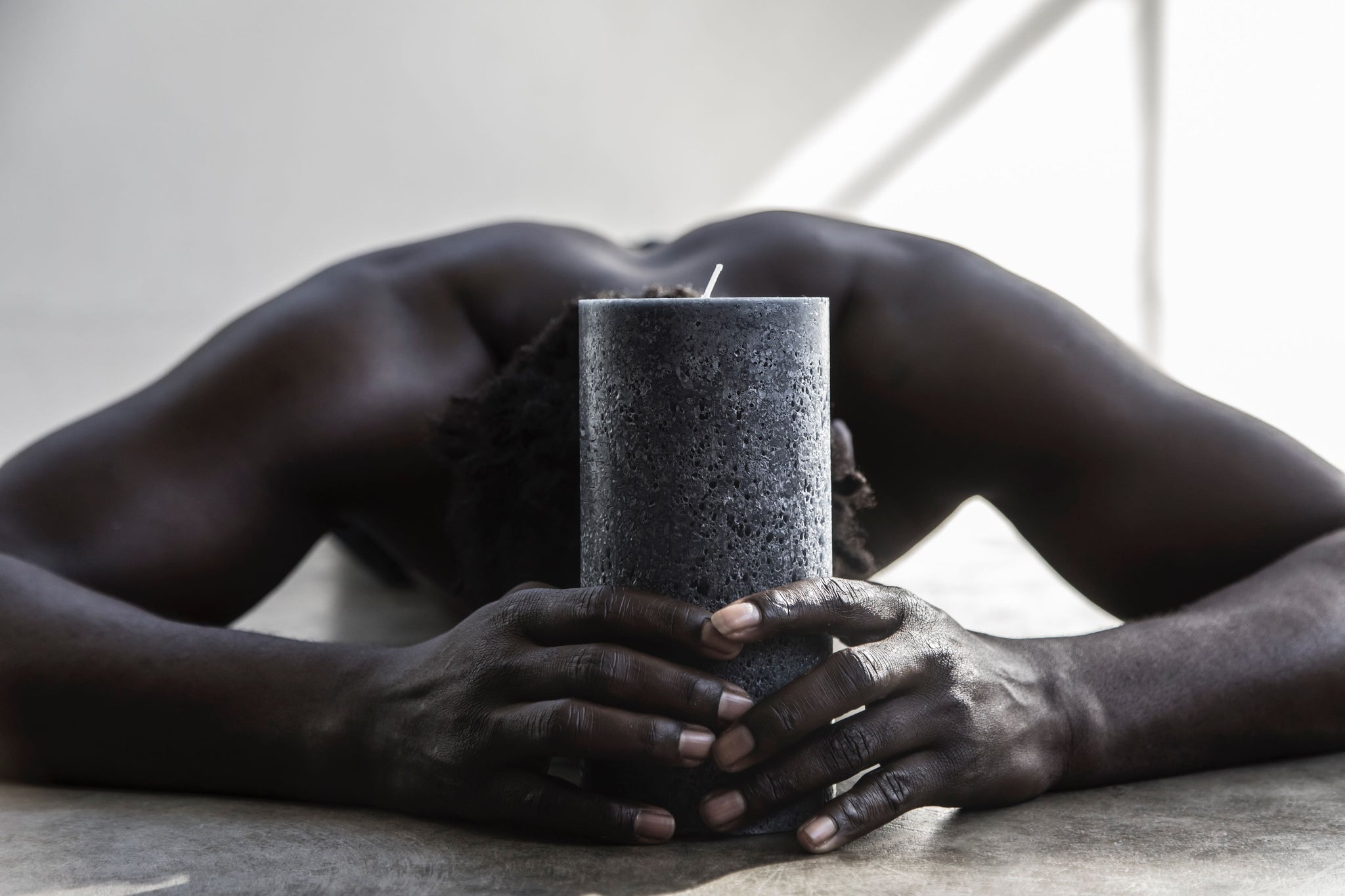 Large textured candle charcoal