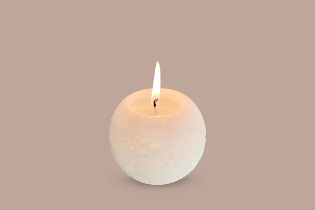 White sculptural ball candle