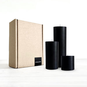 Black pillar candle set