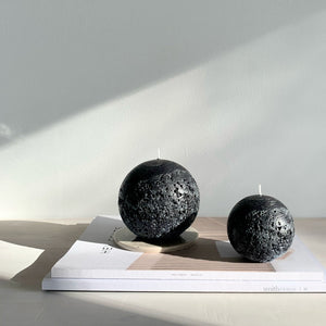 Black spherical candle