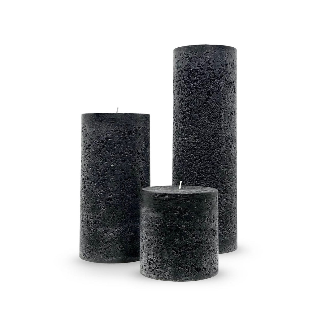 Black Textured Pillar Candles