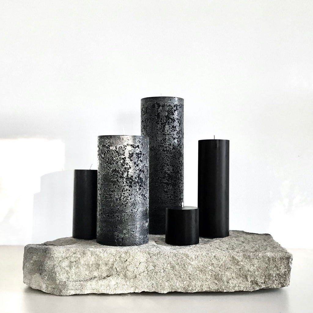 Large designer pillar candles in black