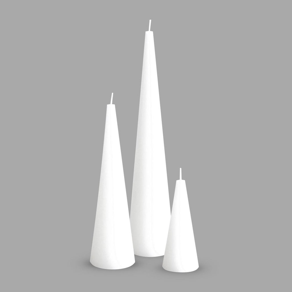 Pure white cone candle trio