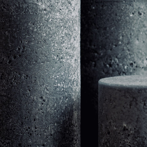 Large rustic textured candles in charcoal