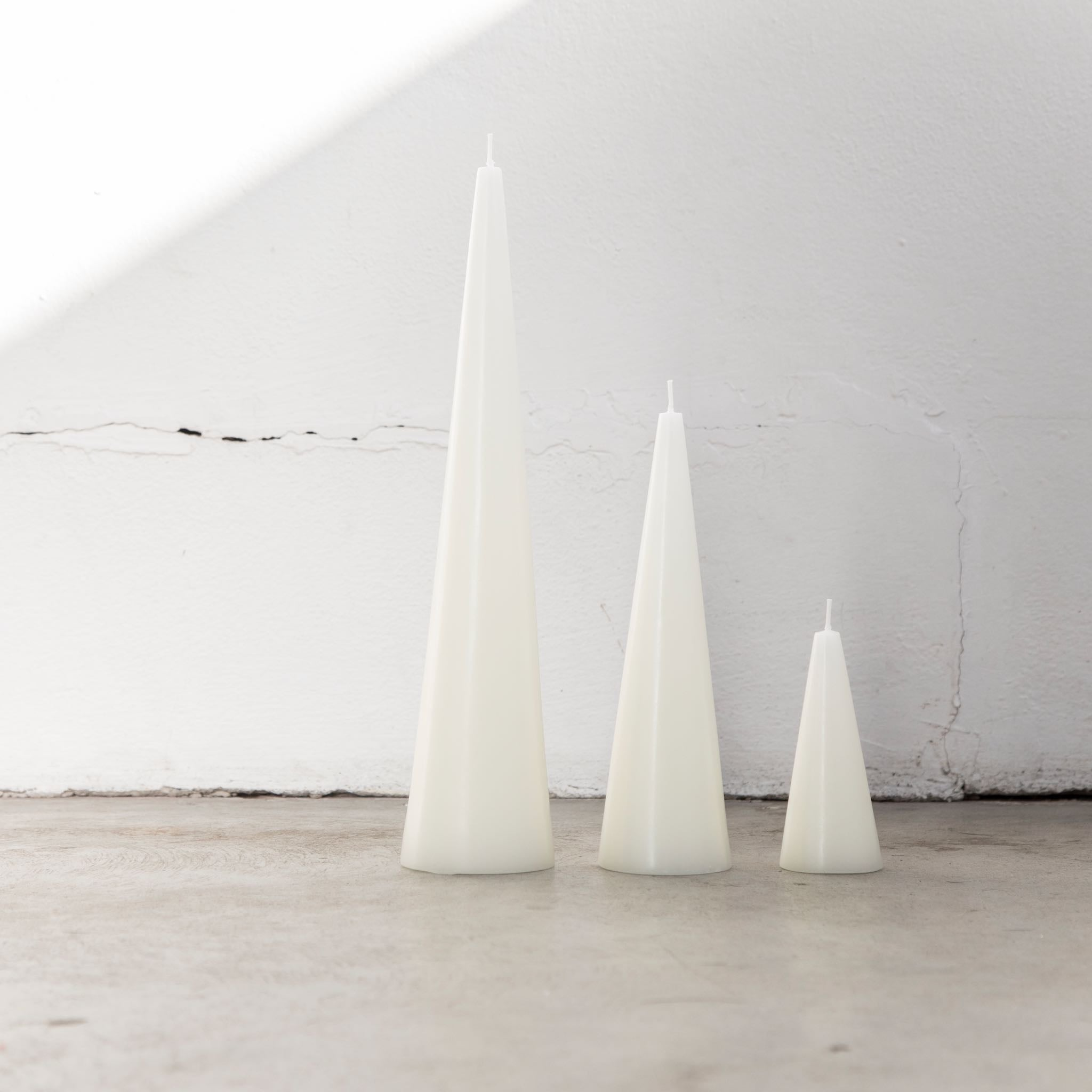 Large white cone candles