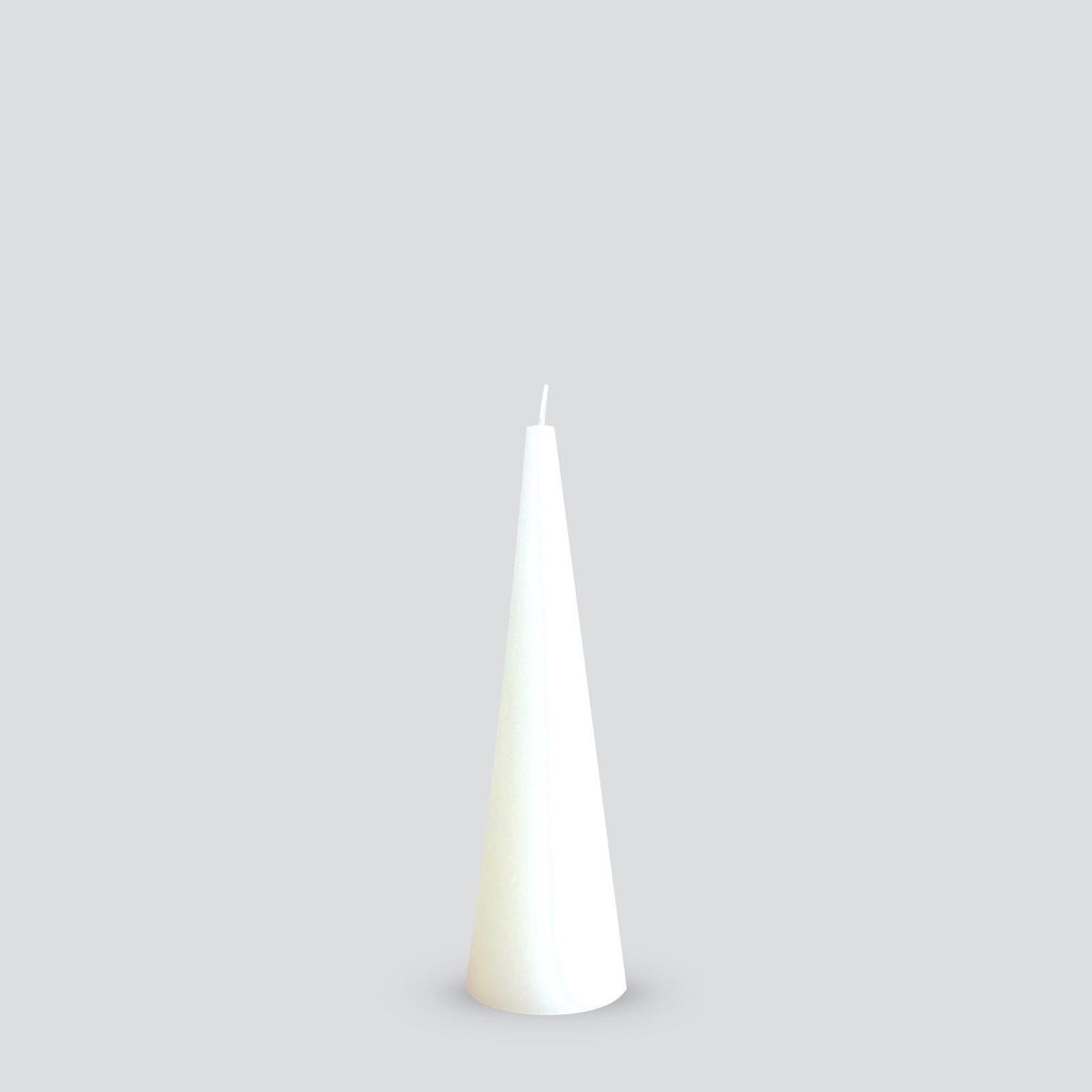 Tall white cone candle