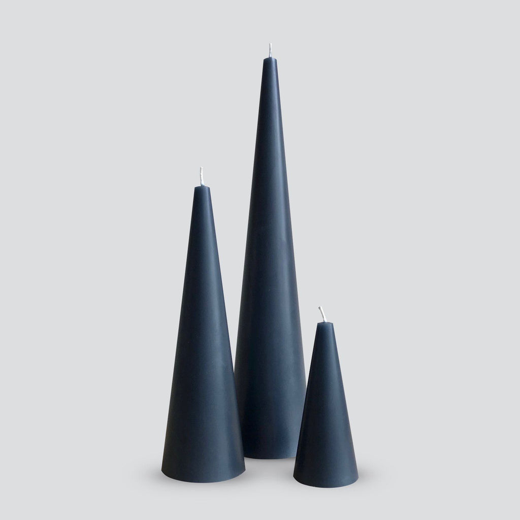 Grey Cone Candle Trio