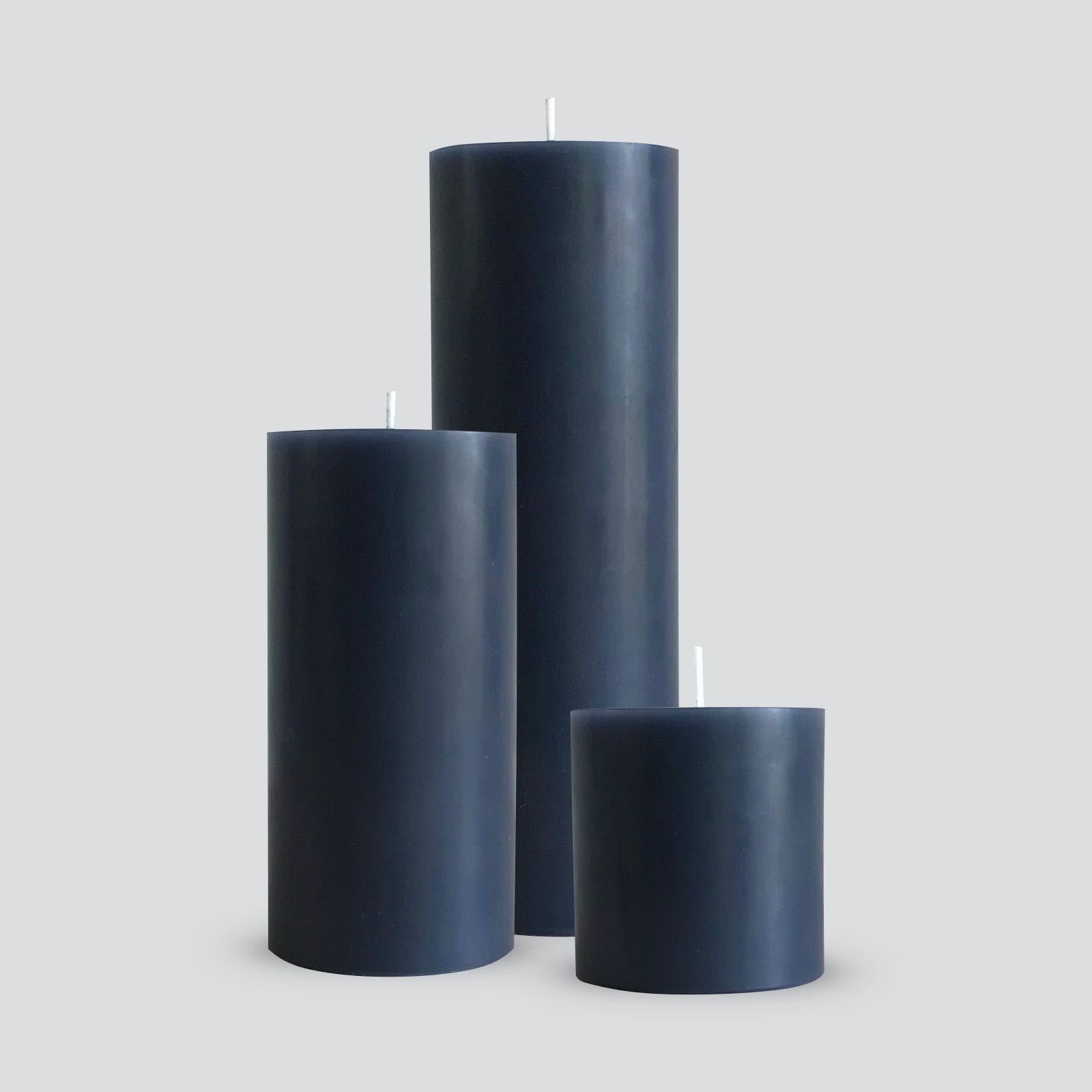 Large grey pillar candles