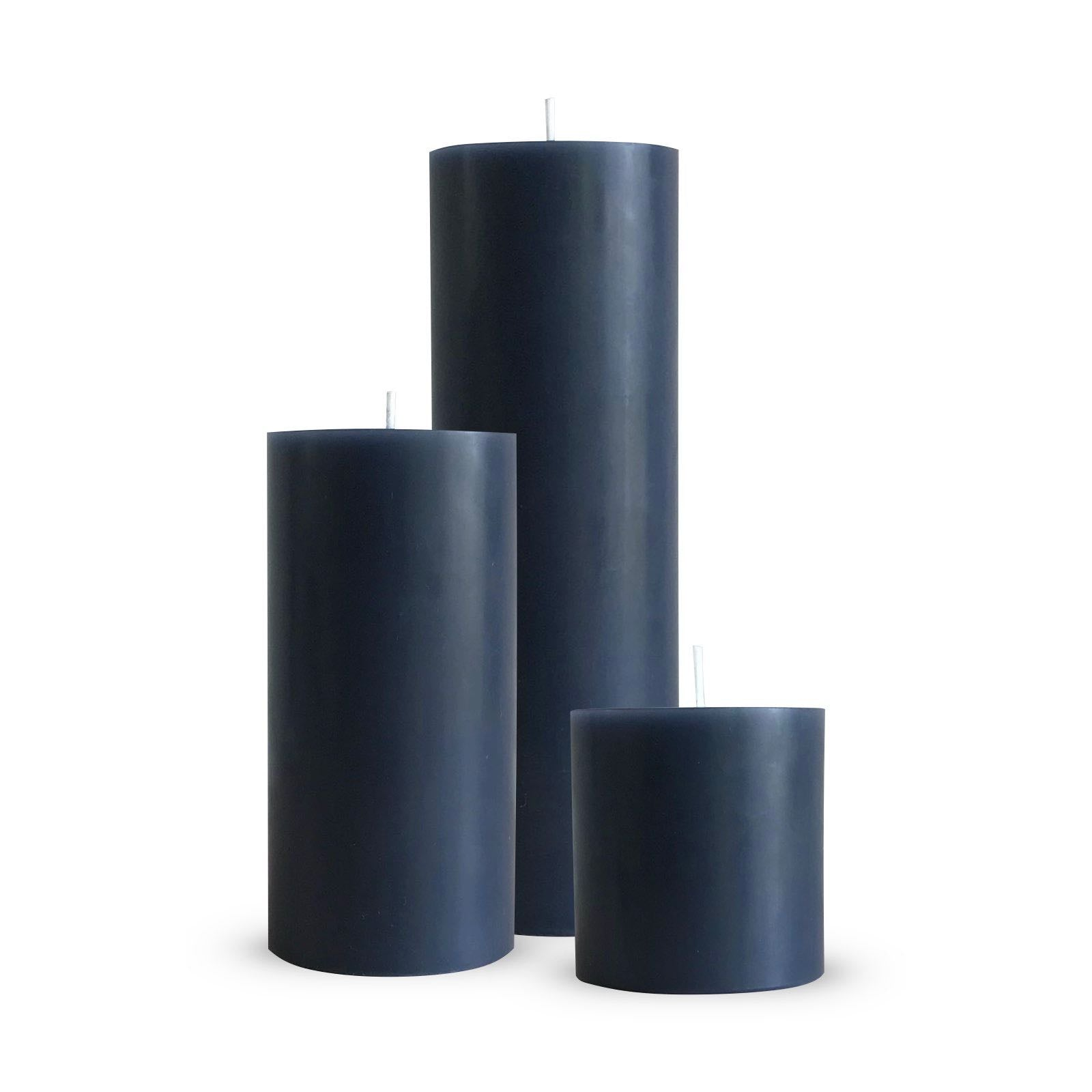 Grey pillar candle trio