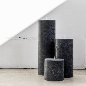 Large textured candles in charcoal