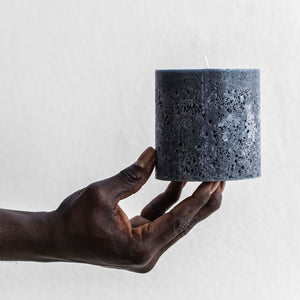 Textured pillar candle