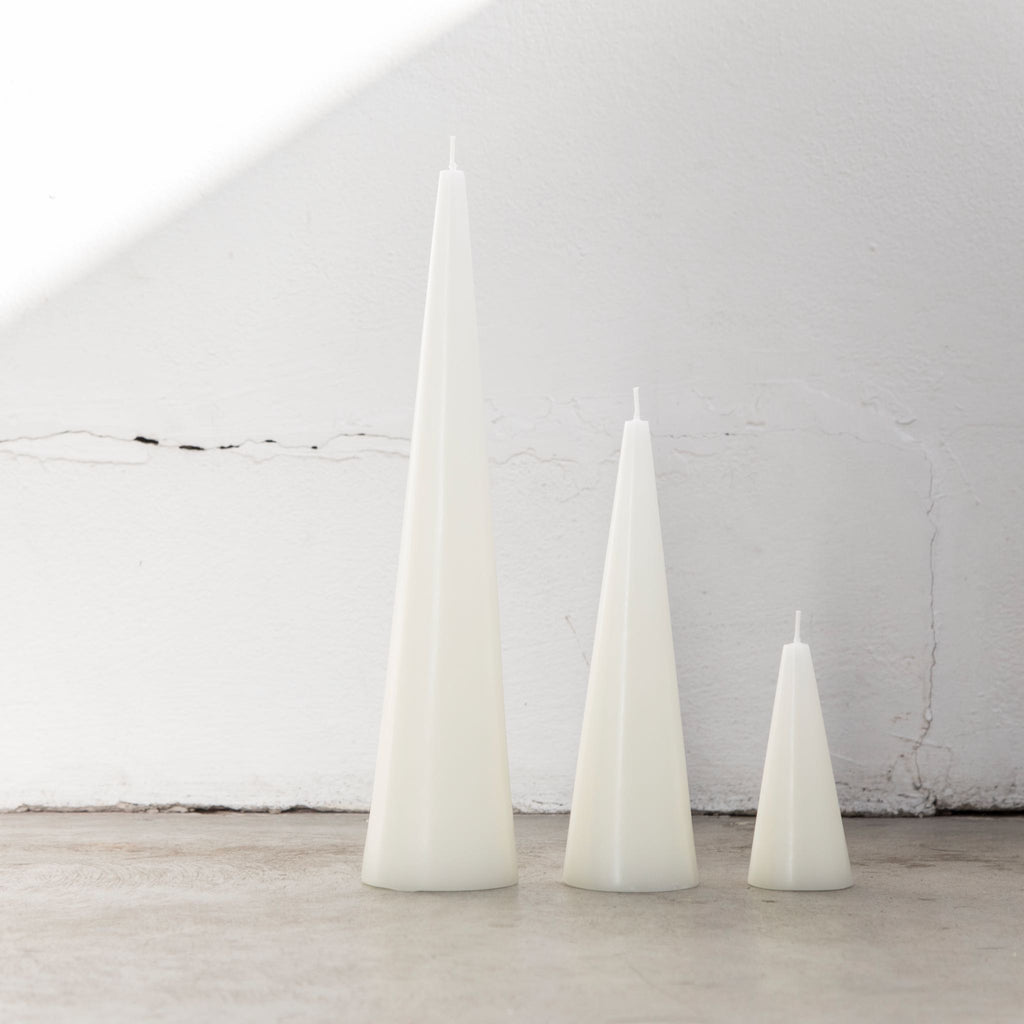 Warm White Cone Candle Trio