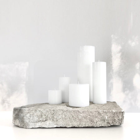 White ribbed pillar candles
