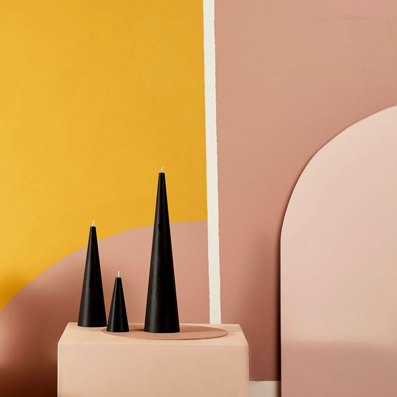 Black cone candles