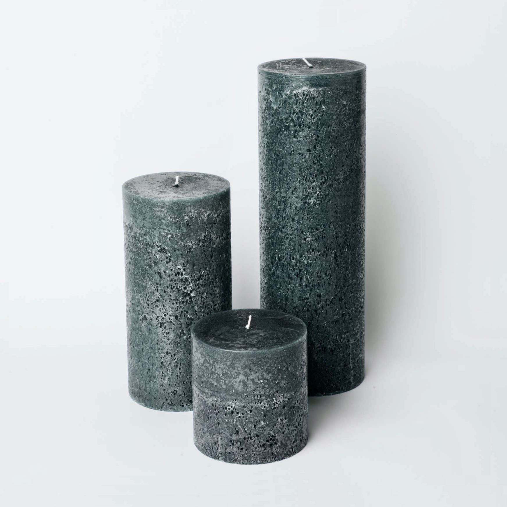 Large grey rustic candles