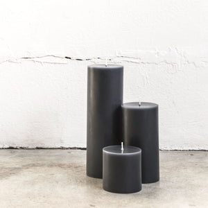 Grey pillar candles