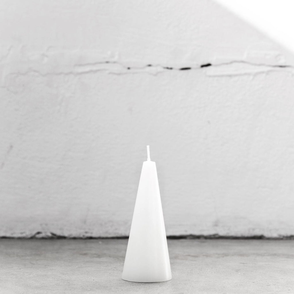 Pure white cone candle