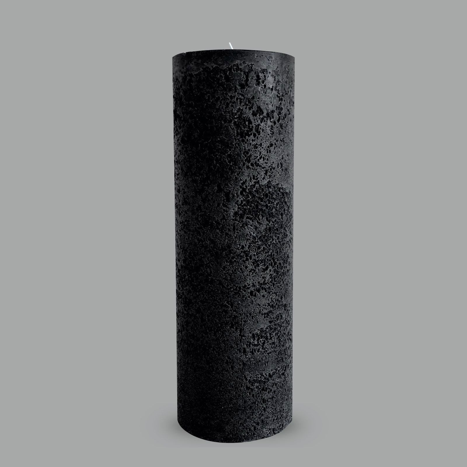 Large textured black pillar candle