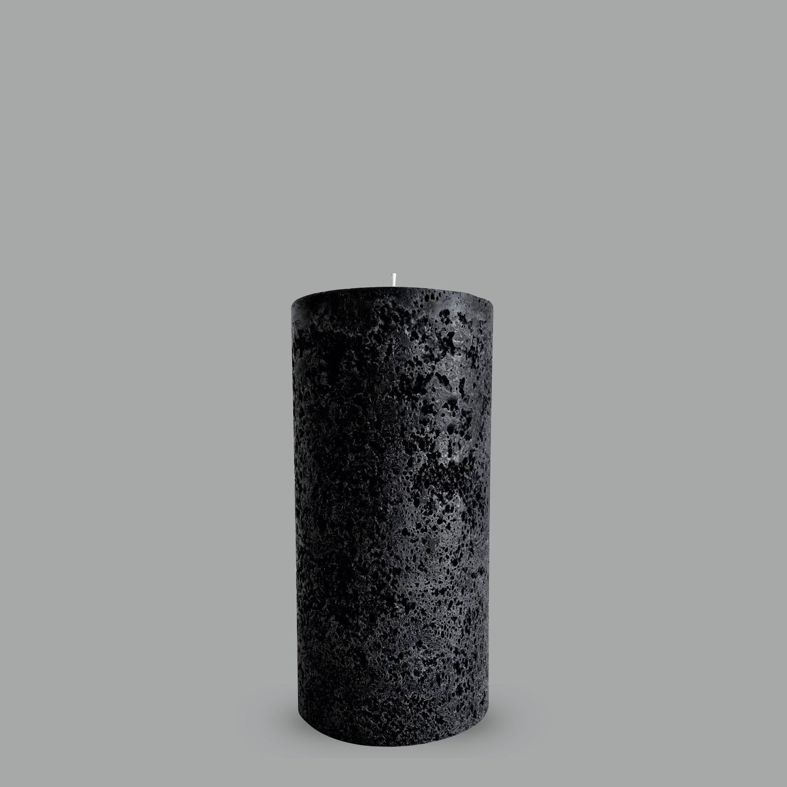 Large black textured pillar candle