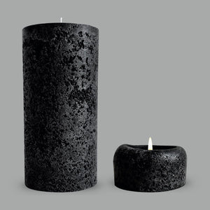 Textured black pillar candle