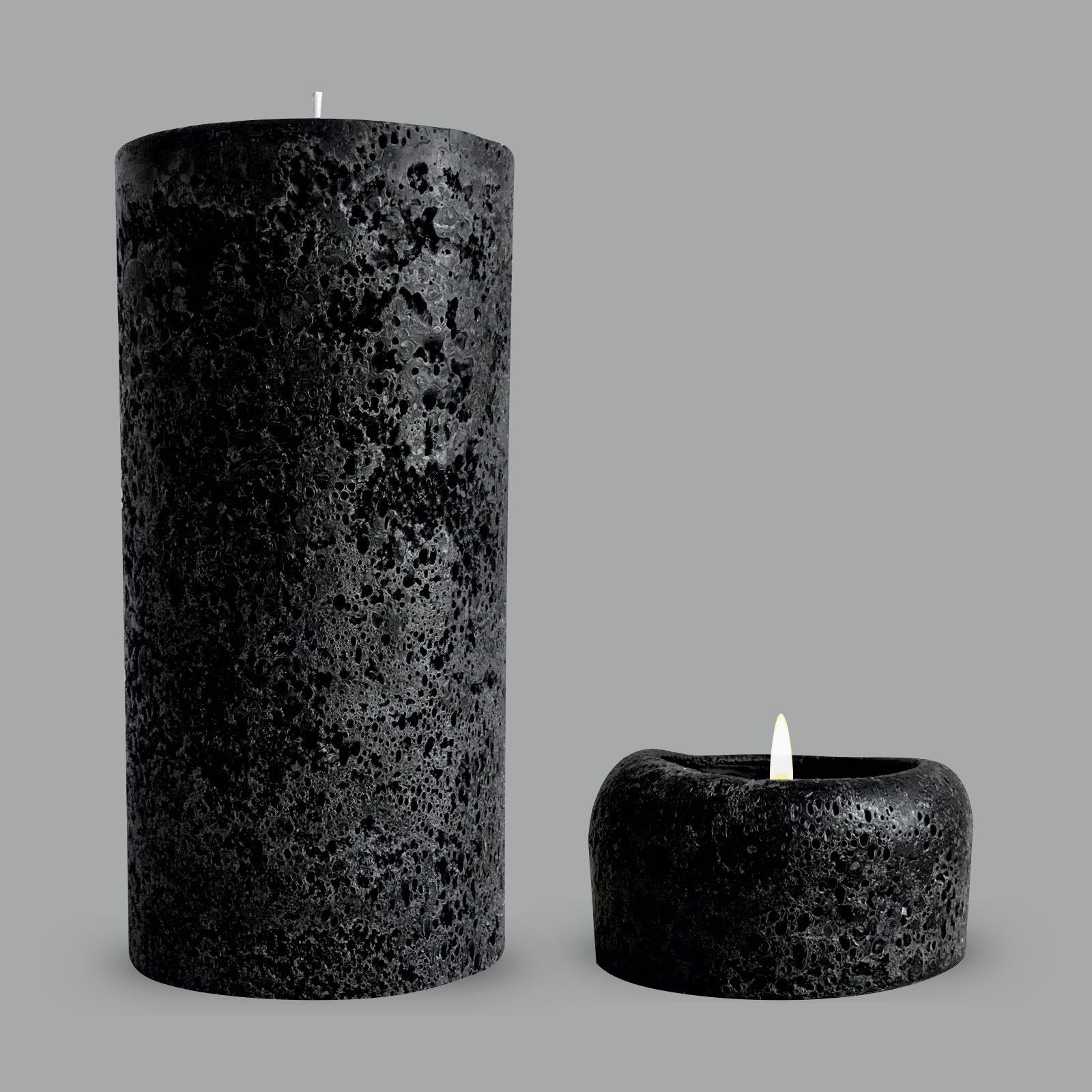 Rustic Black Pillar Candles