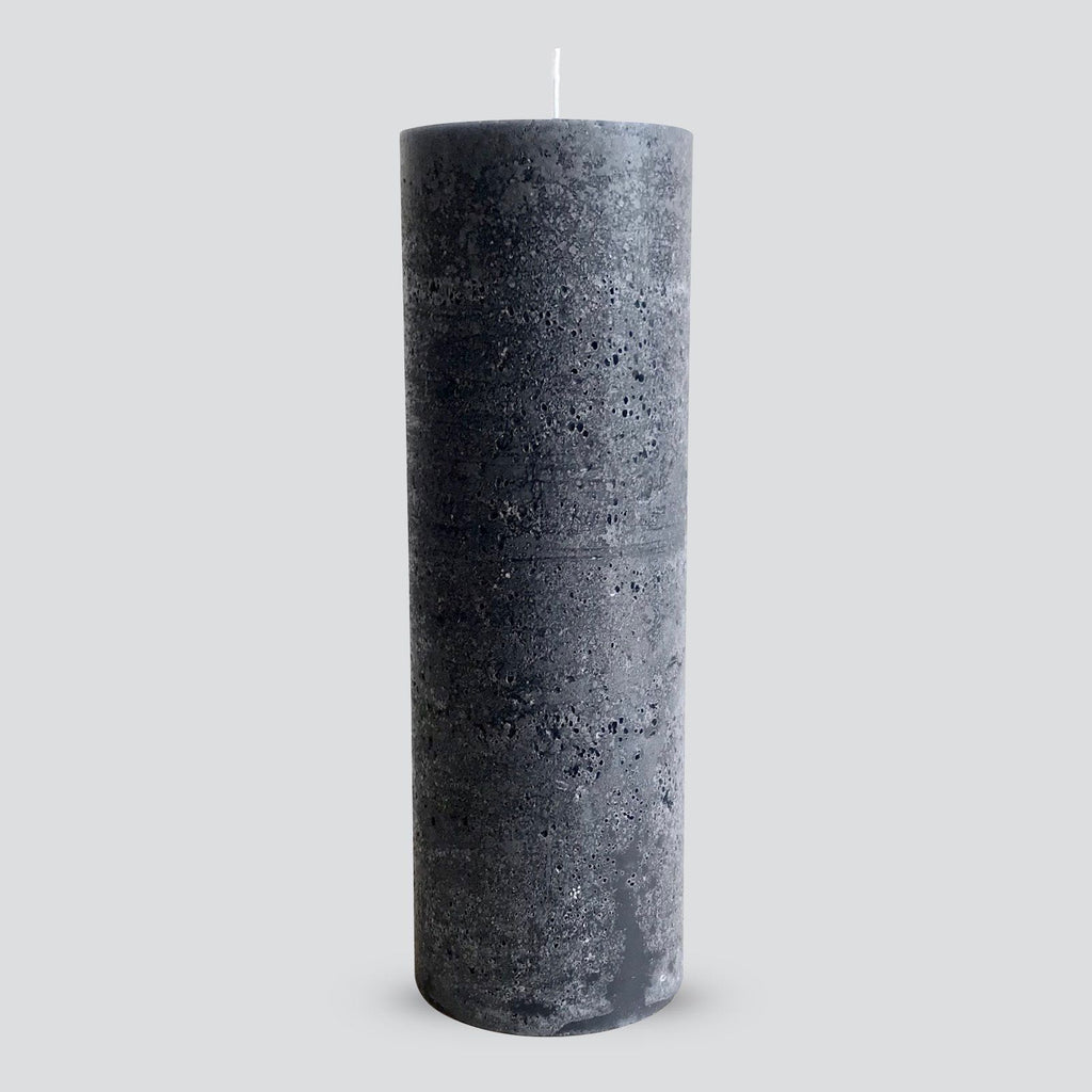 Large textured charcoal pillar candle