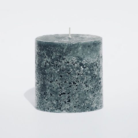 Grey textured pillar candle