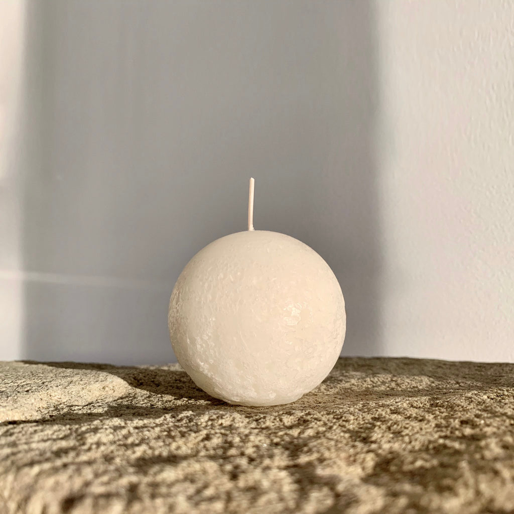 Textured white ball candle