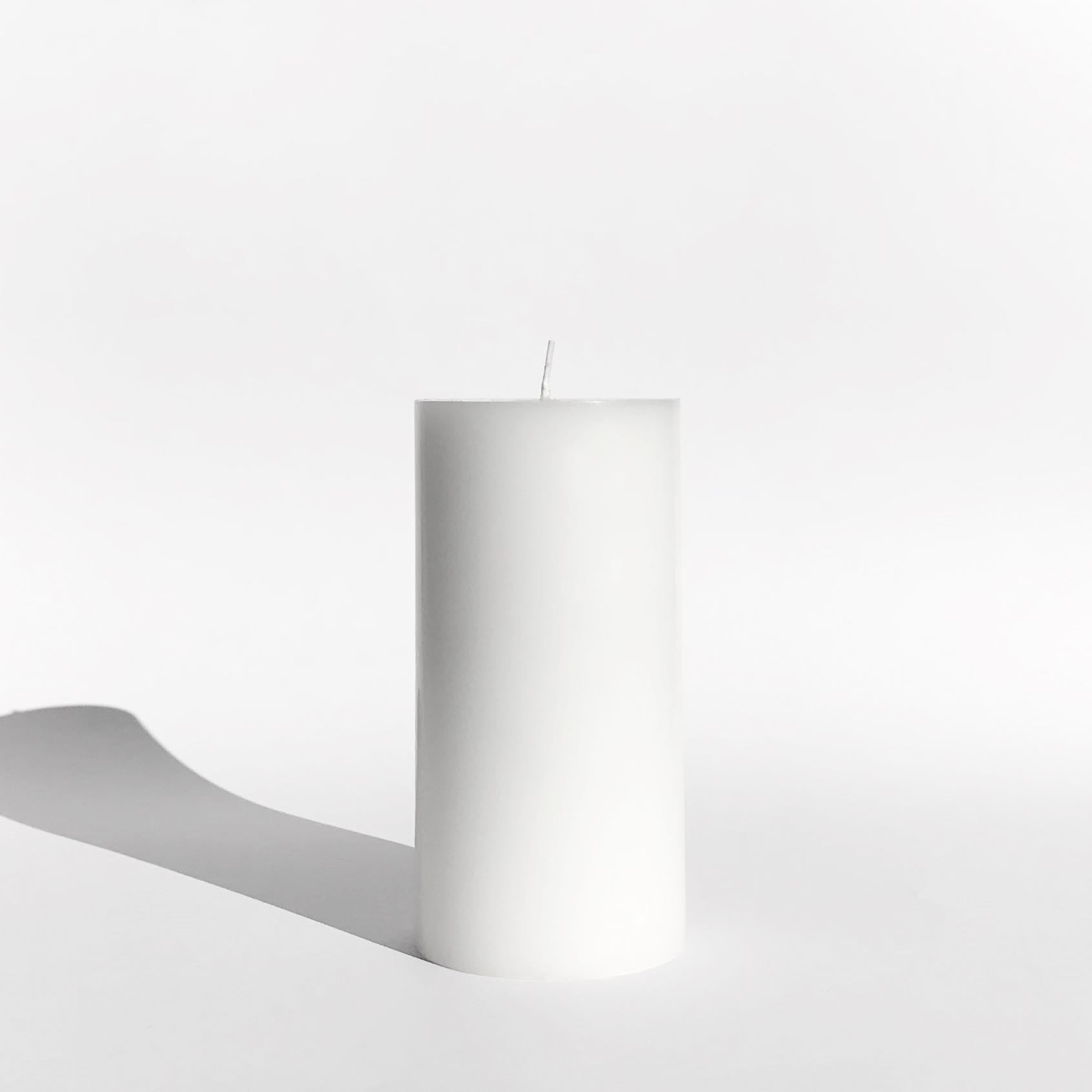 Snow white pillar candle