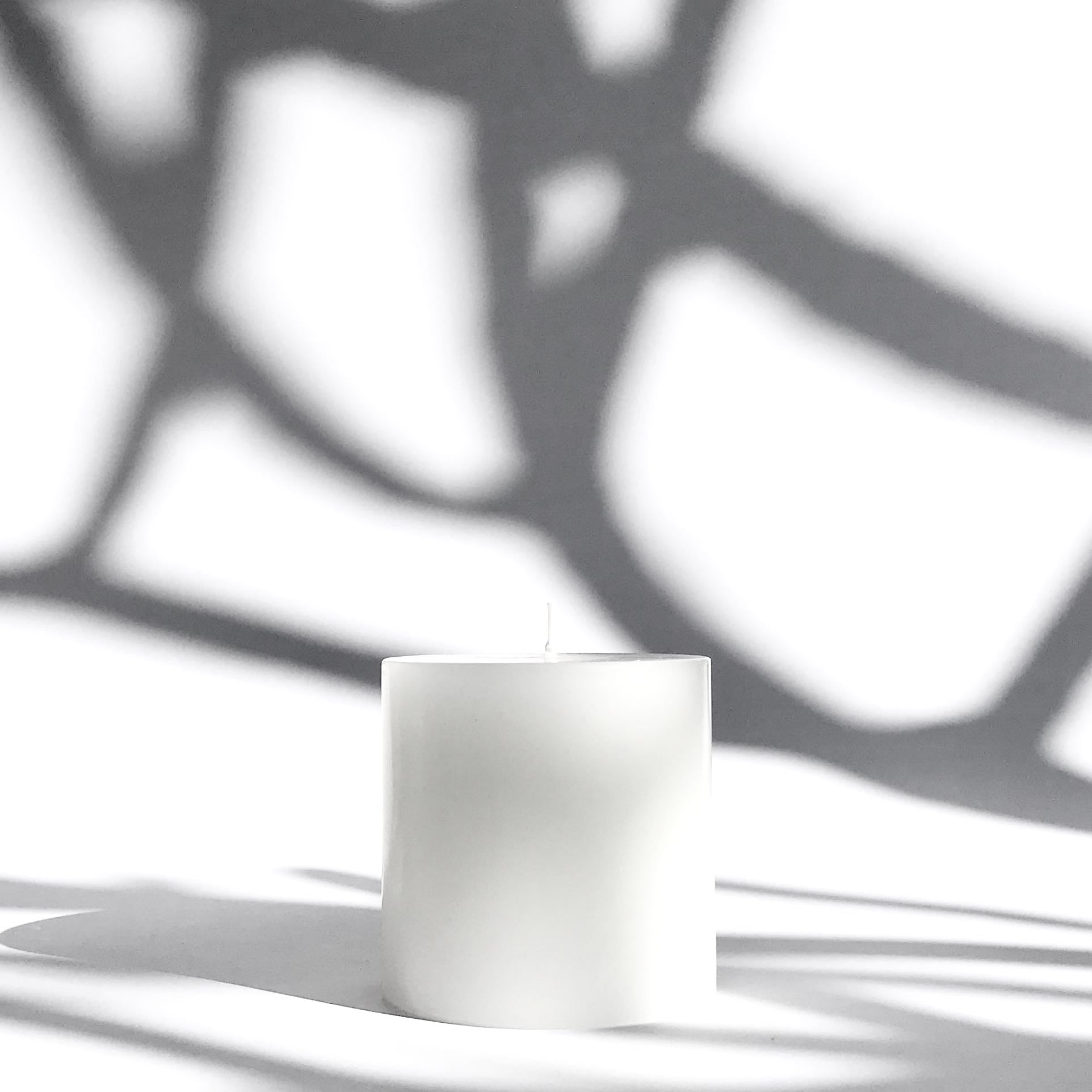 Pure white pillar candle