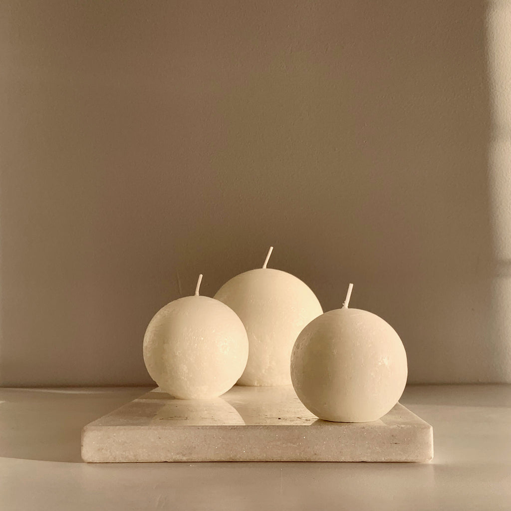 Textured white ball candles