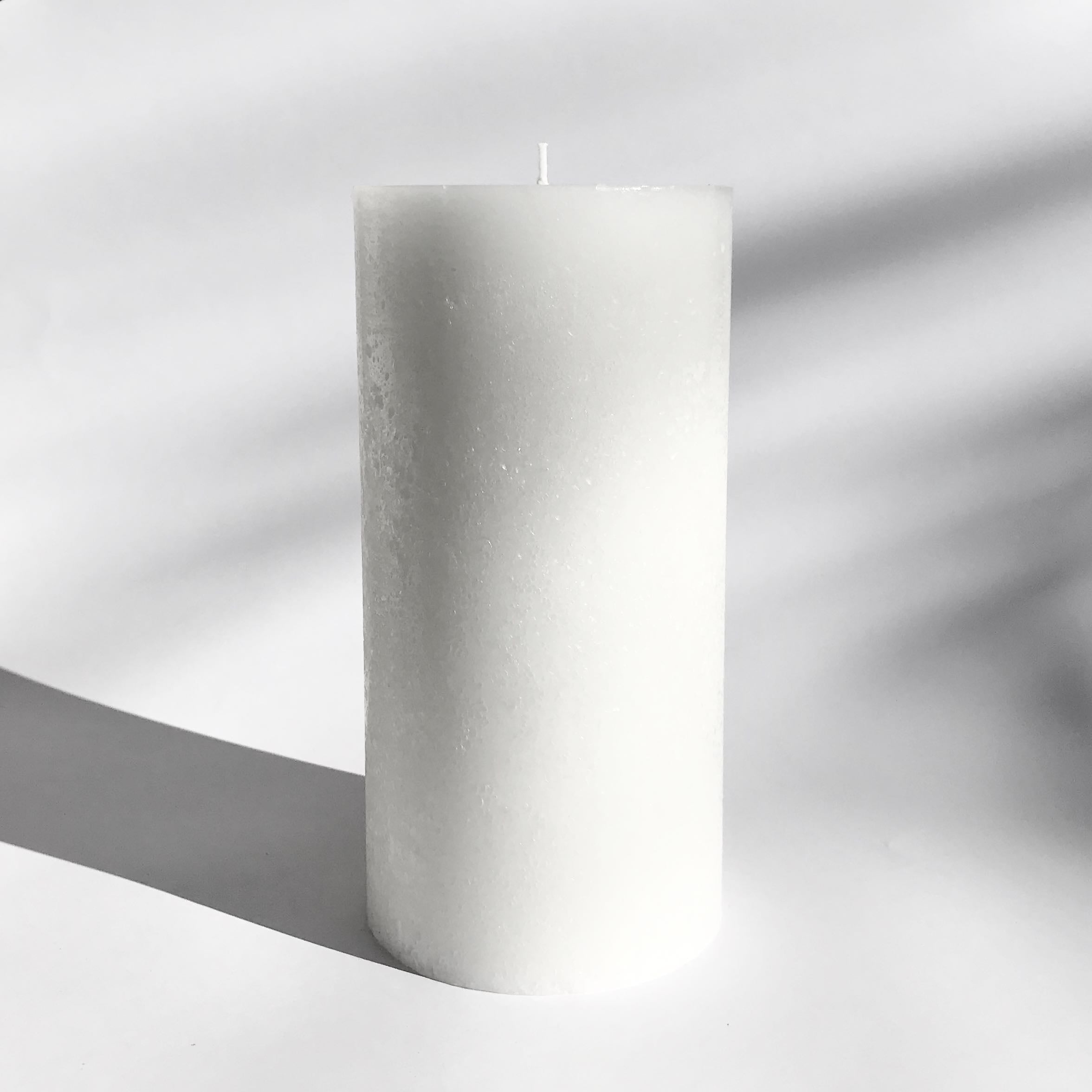 White textured pillar candle