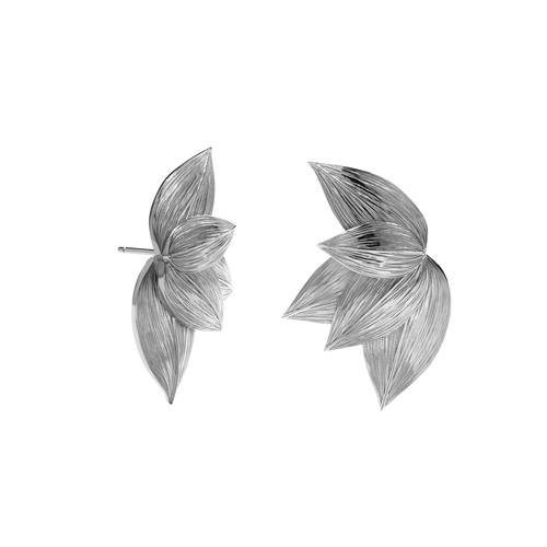Etched 5 Leaves Stud Earrings