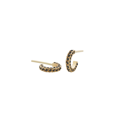 Box Hoop Earrings Triple Pave Small